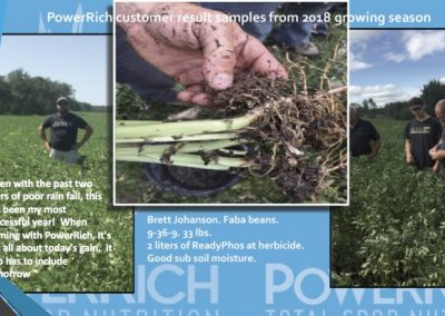 PowerRich customer result samples from 2018 growing season. Even with the past two years of poor rain fall, this has been my most successful year! When farming with PowerRich, it's not all about today's gain, it also has to include tomorrow. Brett Johanson. Faba beans. 9.36-9.33 lbs. 2 liters of ReadyPhos at herbicide. Good sub soil moisture.